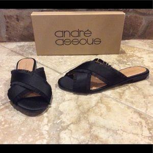 NEW Andre Assous black satin flat sandal shoes 7